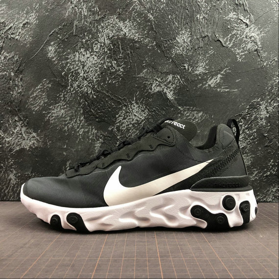 Wholesale Cheap NIKE REACT ELEMENT 55 MENS WOMENS BQ6166-003 BLACK WHITE