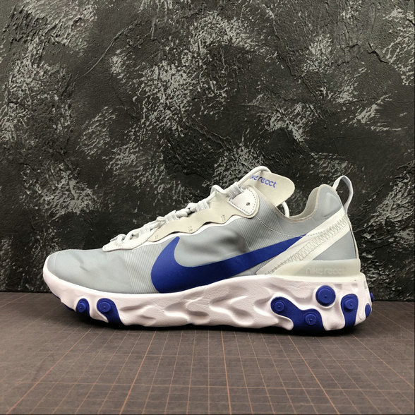 Wholesale Cheap NIKE REACT ELEMENT 55 MENS WOMENS BQ6166-005 PURE PLATINUM RACER BLUE PLATINE PUR BLEU COUREUR