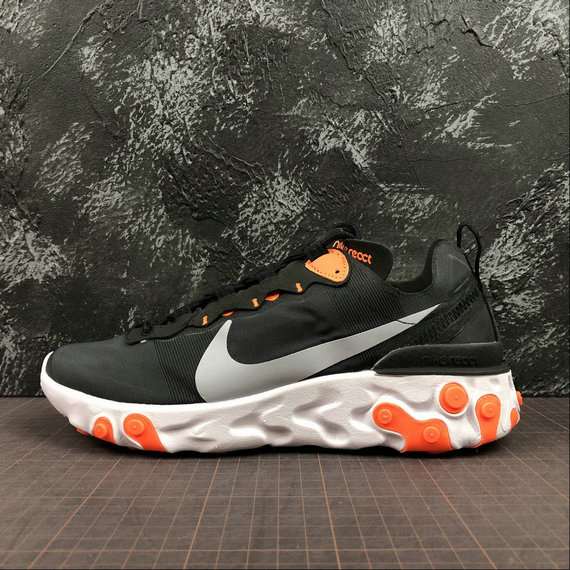 Wholesale Cheap NIKE REACT ELEMENT 55 MENS WOMENS BQ6166-006 BLACK WOLF GREY TOTAL ORANGE NOIR GRIS LOUP