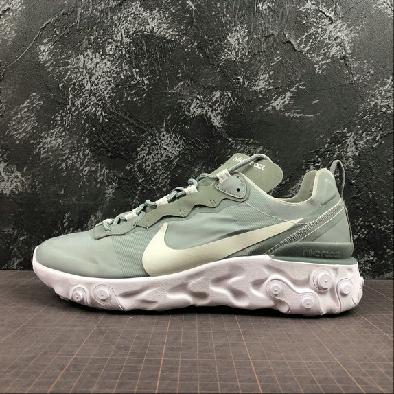 Wholesale Cheap NIKE REACT ELEMENT 55 MENS WOMENS BQ6166-300 MICA GREEN LIGHT SILVER WHITE VERT MICA BLANC ARGENT CLAIR