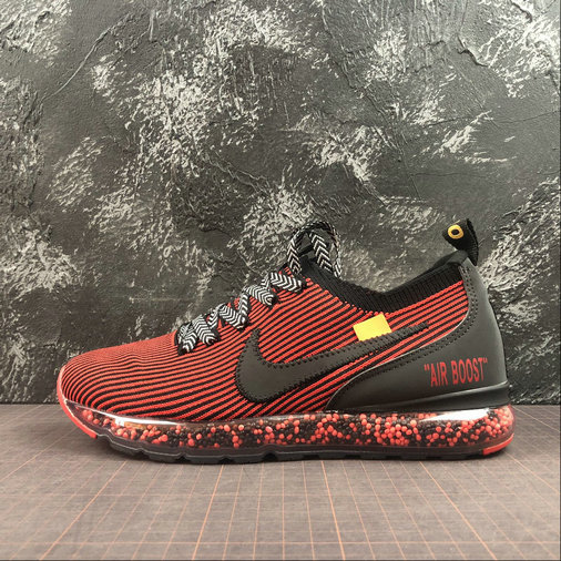 Wholesale Cheap Nike Air Boost Flyknit x Off-White Mens Womens Black Bright Dark Red Noir Rouge Fonce Brillant AJ6900-601