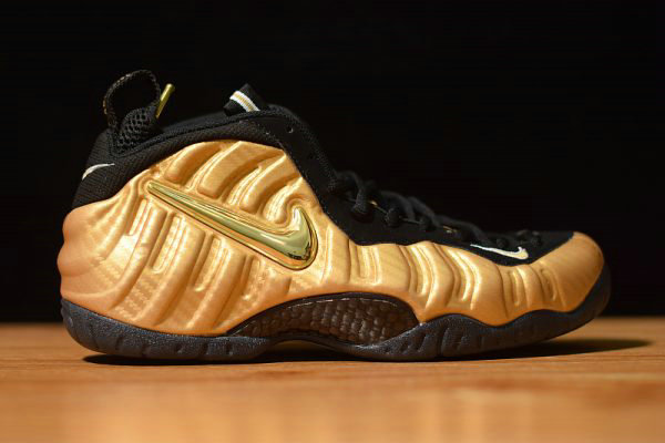 Cheap Wholesale Nike Air Foamposite Pro Metallic Gold Metallic Gold Black-White 624041-701