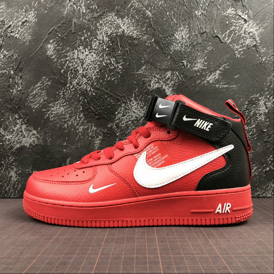 Wholesale Cheap Nike Air Force 1 MID 07 LV8 Womens 804609-605 University Red White-Black University Rouge Noir Blanc
