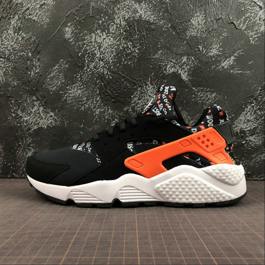 Cheap Wholesale Nike Air Huarache Run PRM Just Do It AT5017-001 Black Total Orange White Noir Blanc Orange Total