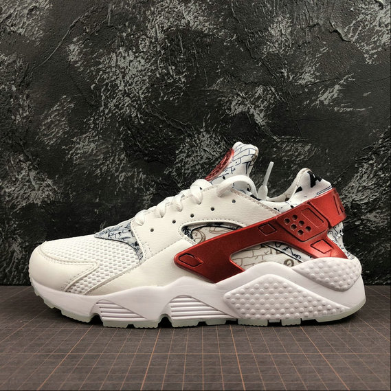 Wholesale Cheap Nike Air Huarache Run QS Mens Womens AJ5578-101 White University Red Blanc University Rouge