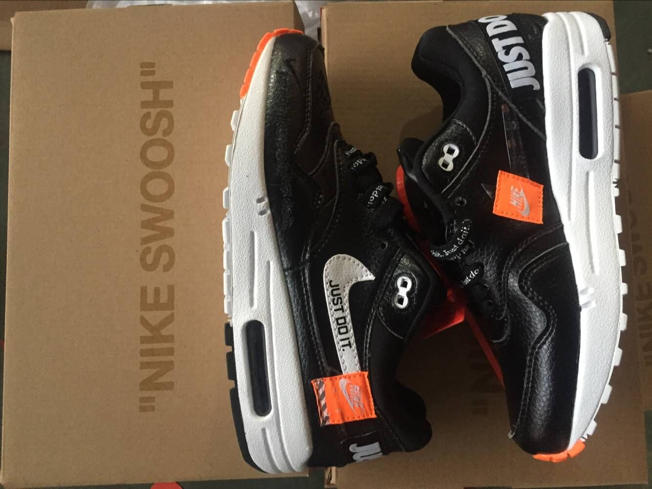 Wholesale Nike Air Max 1 87 Just Do it Black White Orange