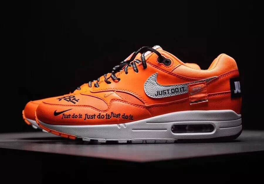 low priced 27d6b 9b8ee Wholesale Womens Nike Air Max 1 87 Just Do it Orange Black White