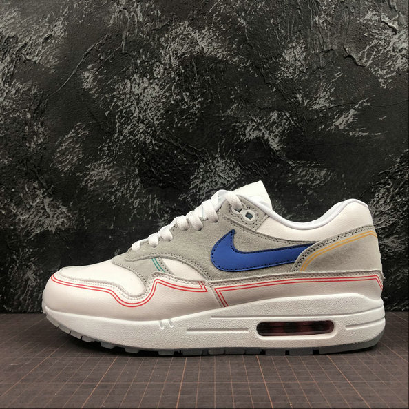 Wholesale Cheap Nike Air Max 1 Centre Pompidou Mens Womens AV3735-002 Pure Platinum Royal Blue White Platine Pur Blanc