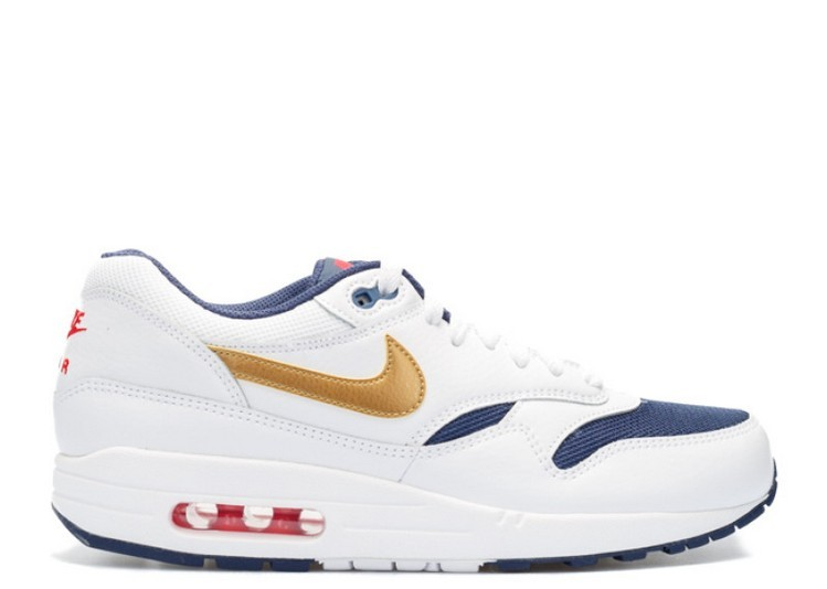 Cheap Wholesale Nike Air Max 1 Essential Mens Trainers Usa Olympic 537383-127 White Metallic Gold-Midnight Navy