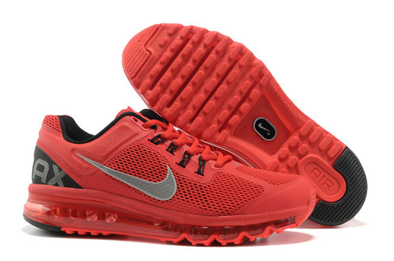Nike Air Max 2013 Mens Running Shoe Black Red Silver