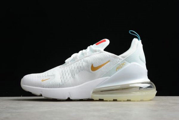 Cheap Wholesale Nike Air Max 270 Flyknit FIFA World Cup French Champion White Gold AH8050-119