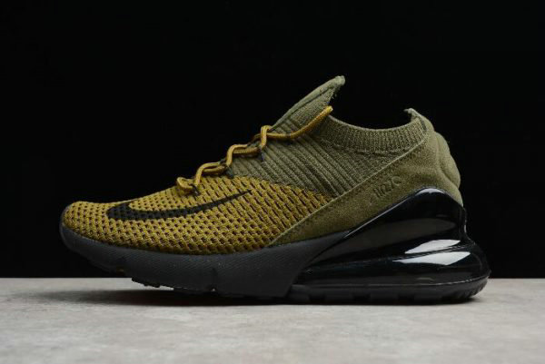 6d6178fdc8586 Cheap Wholesale Nike Air Max 270 Flyknit Olive Black-Yellow Mens and Womens  Size AO1023-003
