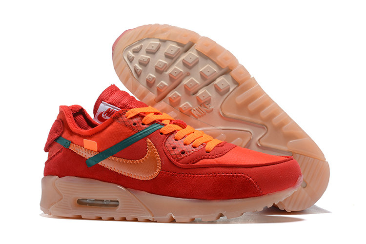 Wholesale Nike Air Max 90  x Nike Off-White Cheap Mens Red Orange