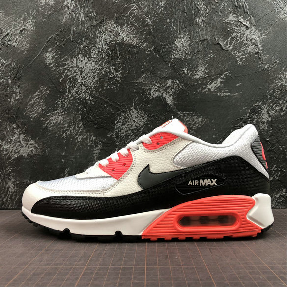 Wholesale Cheap Nike Air Max 90 Essential 537384-126 Black White Orange Red Noir Blanc Orange Rouge