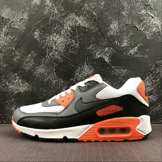 Wholesale Cheap Nike Air Max 90 Essential 537384-128 White Black Orange Red Blanc Noir Orange Rouge