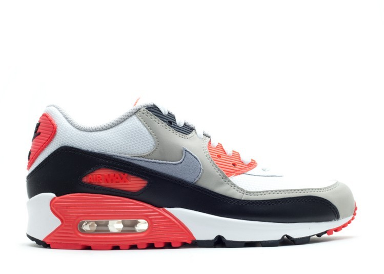 Cheap Wholesale Nike Air Max 90 Gs Infrared 307793-110 White Cement Grey-Light Zen Grey-Black