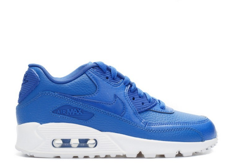 Cheap Wholesale Nike Air Max 90 Leather (Gs) 724821-402 Game Royal Game Royal White