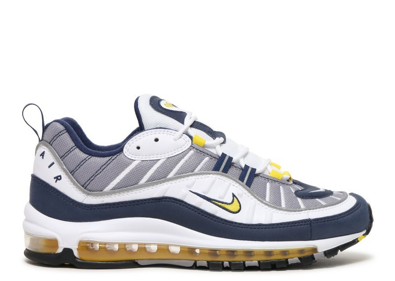 Cheap Wholesale Nike Air Max 98 640744-105 White Tour Yellow Midnight Navy Cement Grey