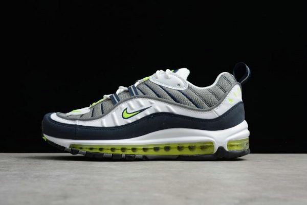 Cheap Wholesale Nike Air Max 98 OG Volt Cool Grey Volt-Black-Metallic Silver Mens Size