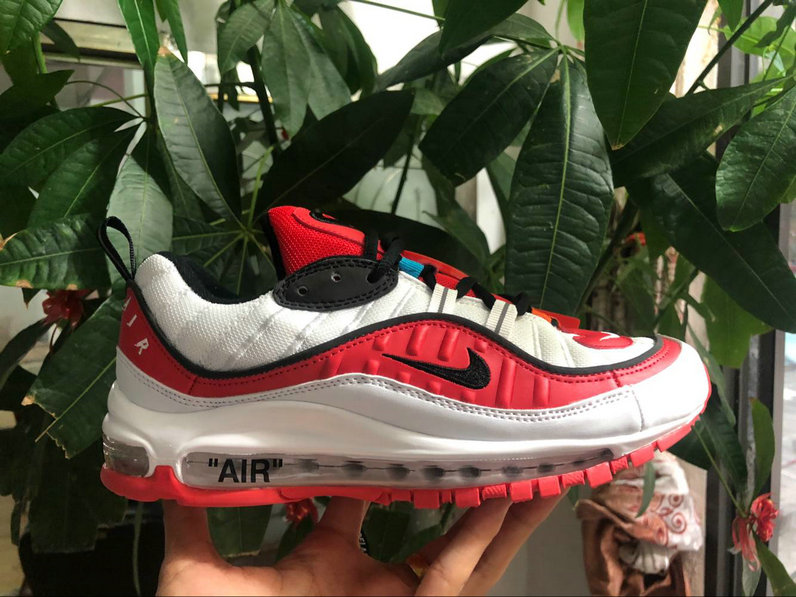 Wholesale Cheap Nike Air Max 98 off-white University Red Black White Come For Sale