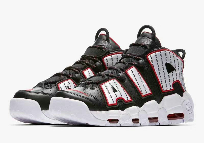 Cheap Wholesale Nike Air More Uptempo Pinstripe Pack Celebrates 1996 AV7947-001 Black White-University Red