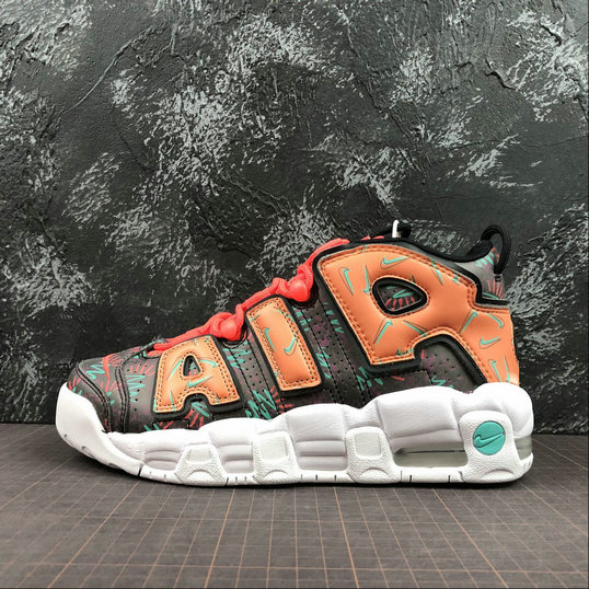 Wholesale Cheap Nike Air More Uptempo Womens AT3408-800 Total Orange Black Hyper Jade Noir
