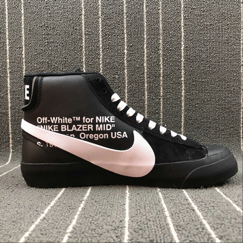 Wholesale Nike Blazer Mid x OFF WHITE AA3832-001 WOLF GREY PURE PLATINUM BLACK COOL GREY GRIS LOUP