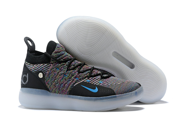 Cheap Wholesale Nike KD 11 Multi-Color Flyknit AO2604-001 Black Persian Violet-Bright Crimson-Chlorine Blue