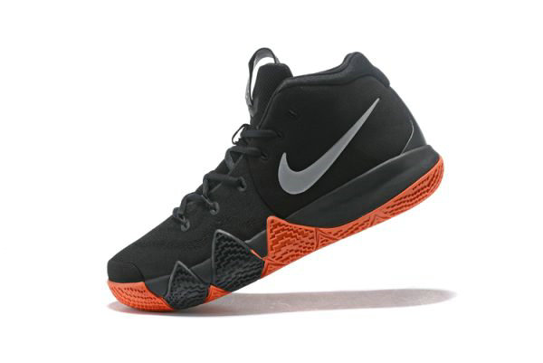 Cheap Wholesale Nike Kyrie 4 Halloween Black Metallic Silver-Bright Orange Basketball Shoes 943806-010