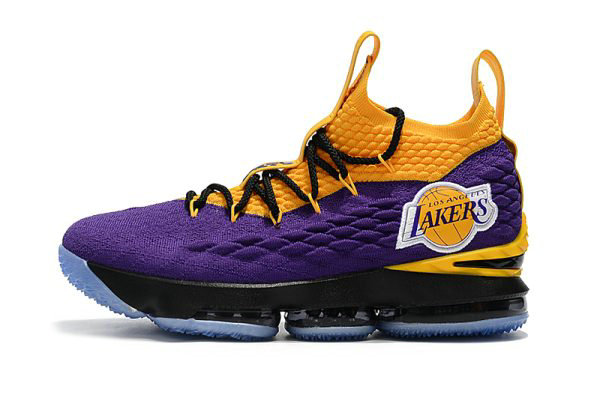 Cheap Wholesale Nike LeBron 15 Lakers Purple Yellow Black Basketball Shoes  For Sale cce124192