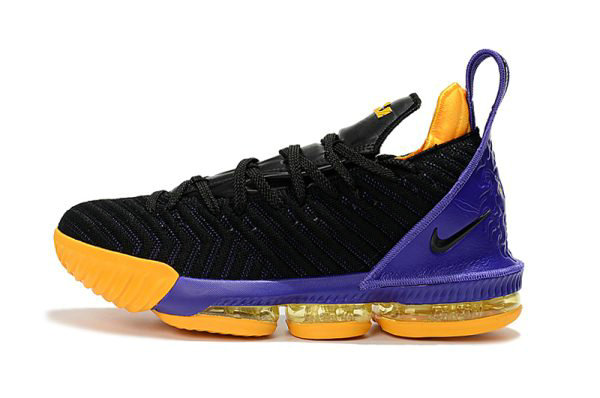 Cheap Wholesale Nike LeBron 16 Black Purple-Yellow Basketball Shoes For Sale