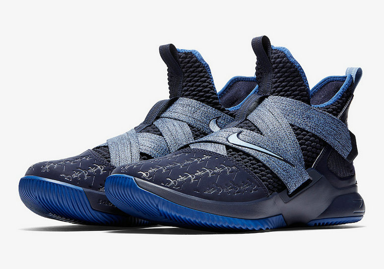 Cheap Wholesale Nike LeBron Soldier 12 AO2609-401 Blackened Blue Gym Blue