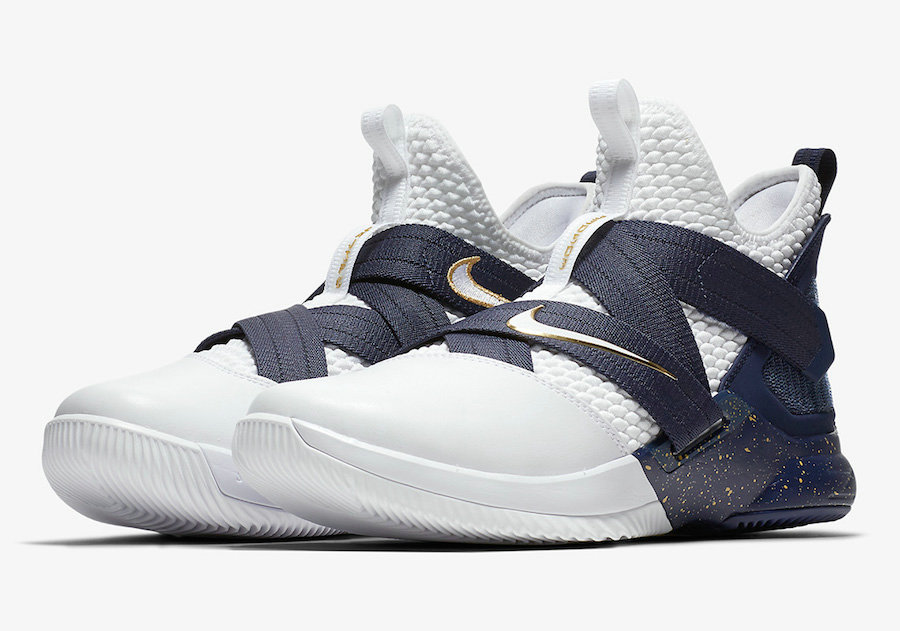 Cheap Wholesale Nike LeBron Soldier 12 AO4054-100 25 Straight White Midnight Navy-Mineral Yellow