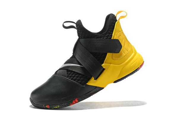 Cheap Wholesale Nike LeBron Soldier 12 Black Yellow Mens Basketball Shoes