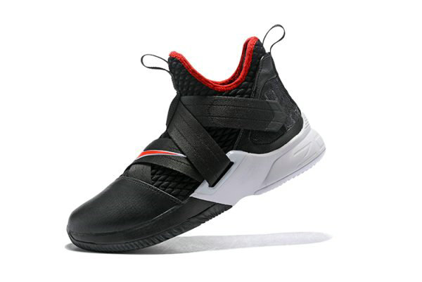 Cheap Wholesale Nike LeBron Soldier 12 Bred Black University Red-White Mens Basketball Shoes