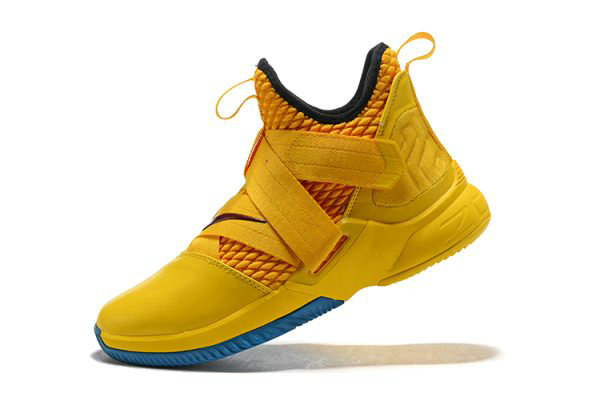 Cheap Wholesale Nike LeBron Soldier 12 Cavs Yellow Black-Blue Mens Basketball Shoes