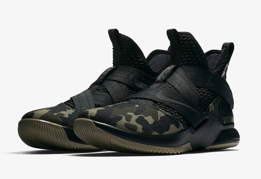 Cheap Wholesale Nike LeBron Soldier 12 SFG Camo AO4054-001 Black-Hazel Rush
