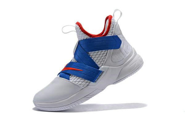 Cheap Wholesale Nike LeBron Soldier 12 White Blue-Red Mens Basketball Shoes