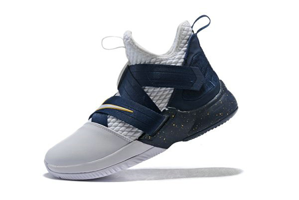 Cheap Wholesale Nike LeBron Soldier 12 XII SFG White Midnight Navy-Mineral Yellow Basketball Shoes