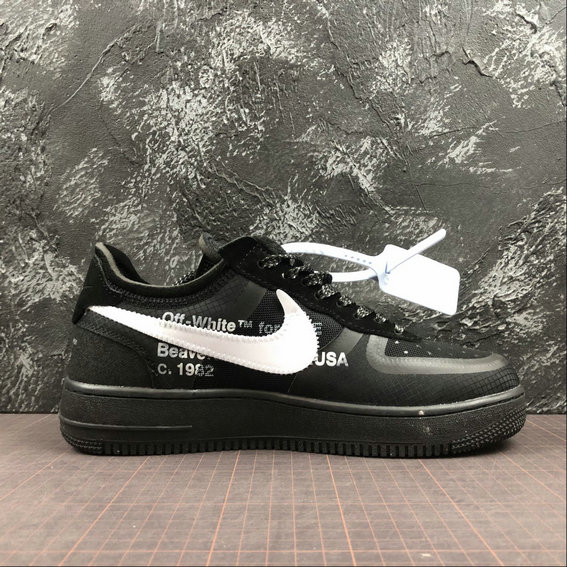 Wholesale Cheap Nike OFF-WHITE -The 10 Air Force 1 Low White Black Blanc Womens