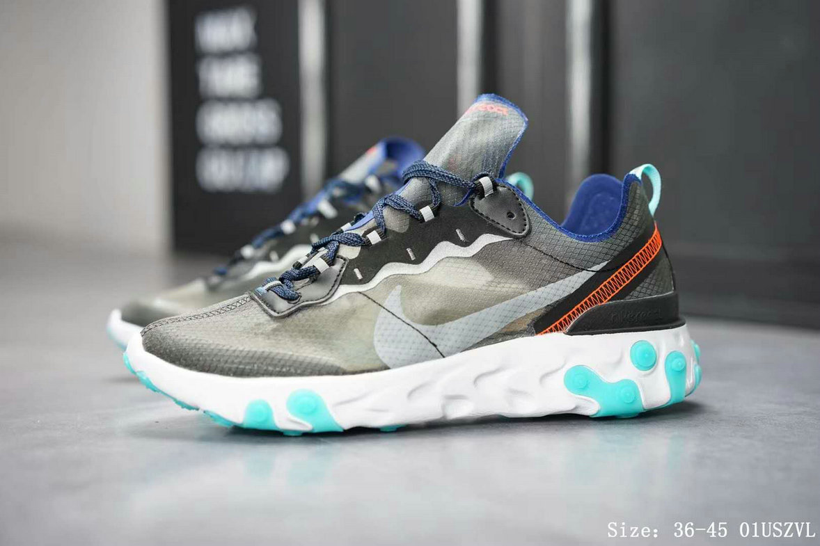 Wholesale Cheap Nike React Element 87 AQ1090-005 Black Neptune Green-Bright Mango-Midnight Navy