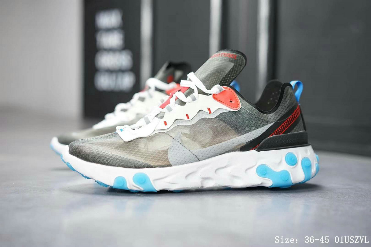 Wholesale Cheap Nike React Element 87 Mens Womens Dark Grey Pure Platinum-Photo Blue AQ1090-003