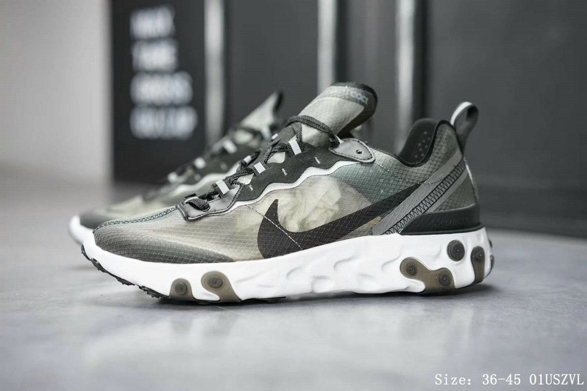 Wholesale Cheap Nike React Element 87 Mens Womens Grey Black White Release Date