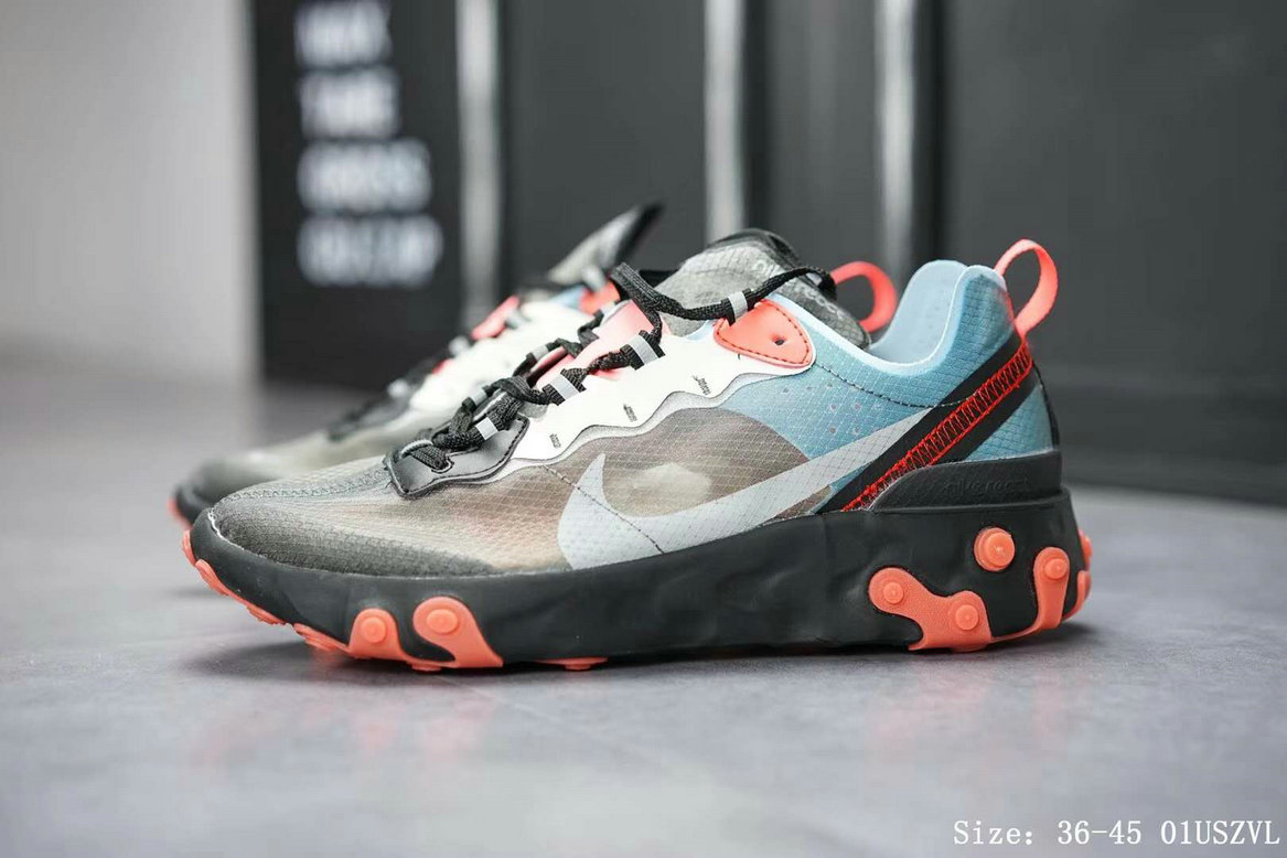 Wholesale Cheap Nike React Element 87 Mens Womens Releasing In Blue Chill And Solar Red