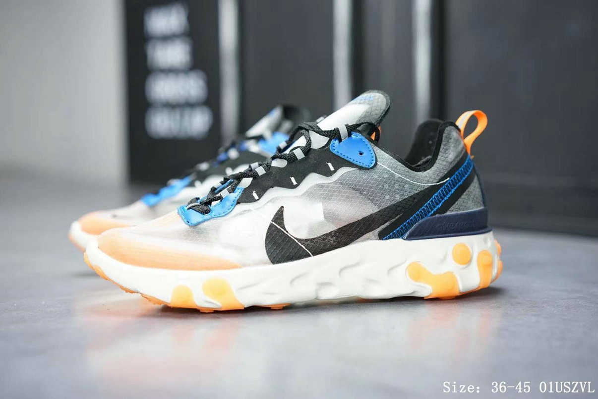 Wholesale Cheap Nike React Element 87 Mens Womens Releasing In Thunder Blue And Total Orange