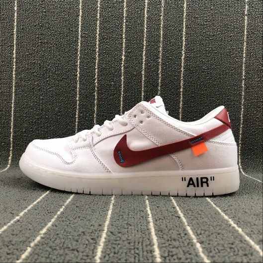 Wholesale Cheap Nike SB Zoom Dunk Low Pro x Off White Mens Womens 854866-601 White Red Blanc Rouge