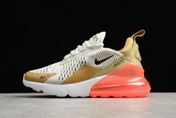 Cheap Wholesale Nike WMNS Air Max 270 Flight Gold Black-Light Bone-White-Hot Punch AH6789-700