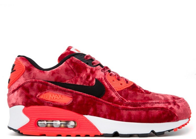 Cheap Wholesale Nike Wmns Air Max 90 Anniversary Red Velvet 726485-600 Gym Red Black-Infrared-Metallic Gold
