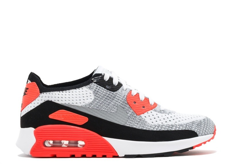 Cheap Wholesale Nike Wmns Air Max 90 Ultra 2.0 Flyknit 881109-100 White Wolf Grey Bright Crimson Black