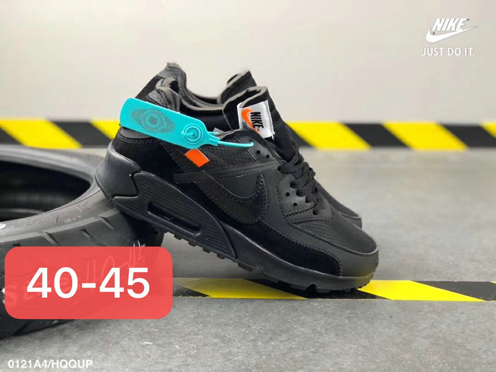 Wholesale Off White X Boys Nike Air Max 90 Unisex Running Shoes Black All